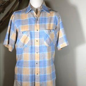 Vintage 70s men's Towncraft plaid shirt size M